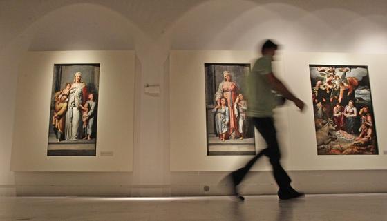 Un visitante en la exposición